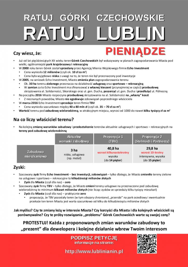 Ulotka Ratuj Lublin - PIENIĄDZE