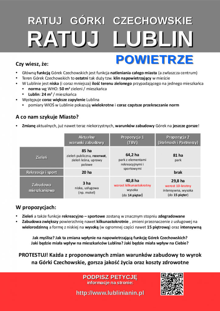 Ulotka Ratuj Lublin - POWIETRZE